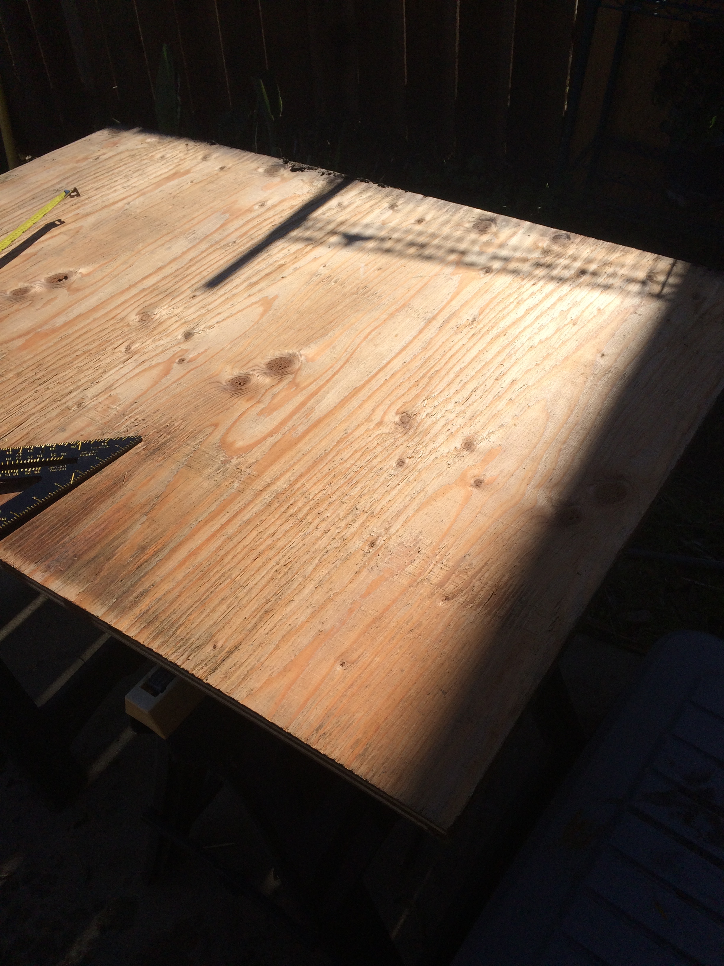 laying out the plywood cuts